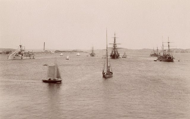 Sailboats and warships, Lysekil, Sweden