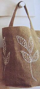 Bolso de yute bordado con hojas – Guía de MANUALIDADES  – Bolsa