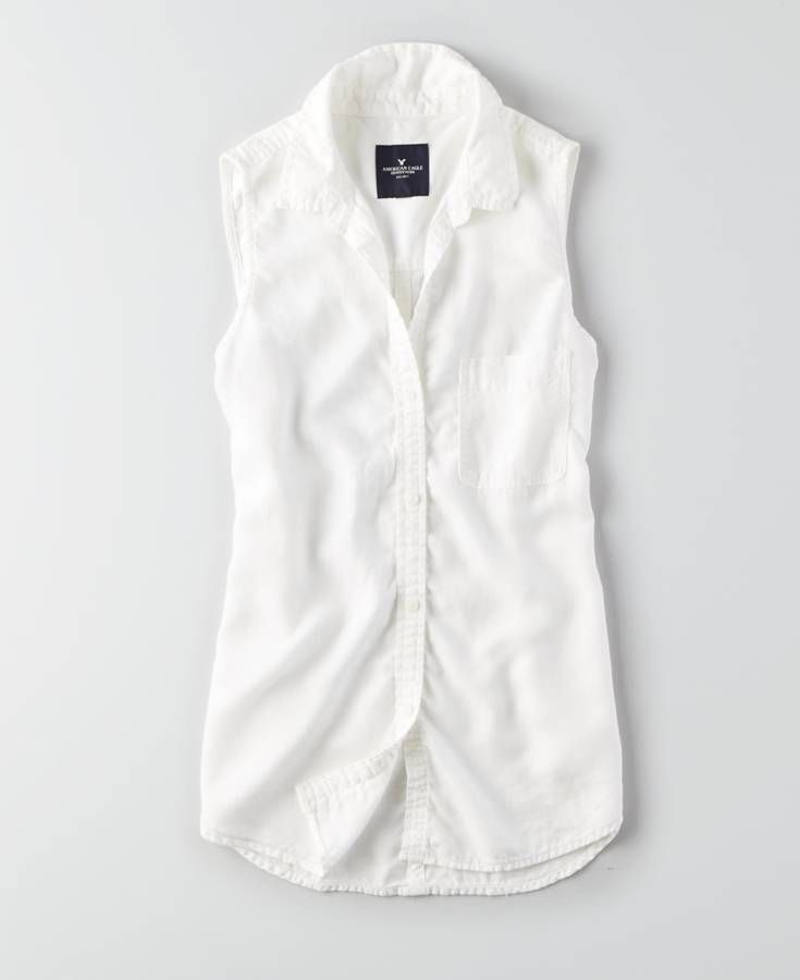 AEO Sleeveless Button Down Shirt, Women's, White | *Clothing ...