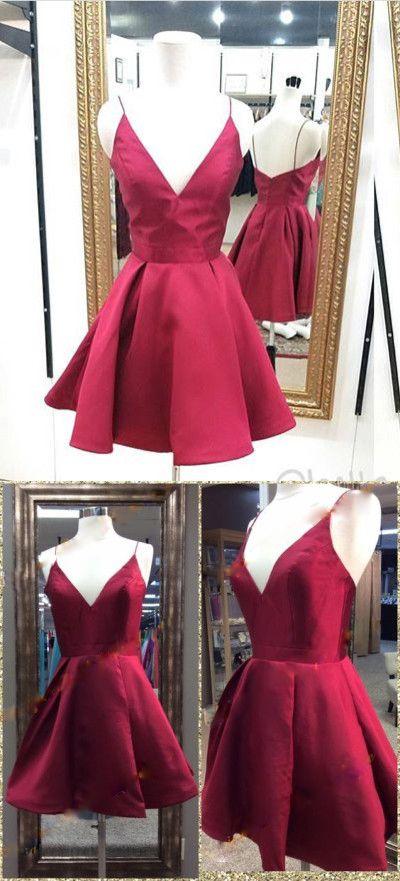 3f5df7efd8 Cute Wine Red V- Neckline Short Satin Homecoming Dresses