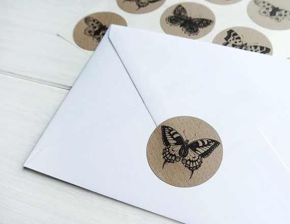Butterfly stickers vintage butterflies insect rustic round envelope seals kraft scrapbooking collage labels by azmari