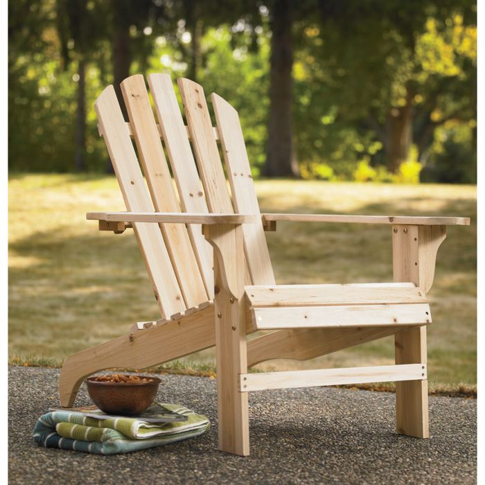 Cedar Fir Adirondack Chair Is Unfinished So You Can Stain Or Paint To Match Your Yard Wood Adirondack Chairs Outdoor Patio Chairs Wood Patio Chairs