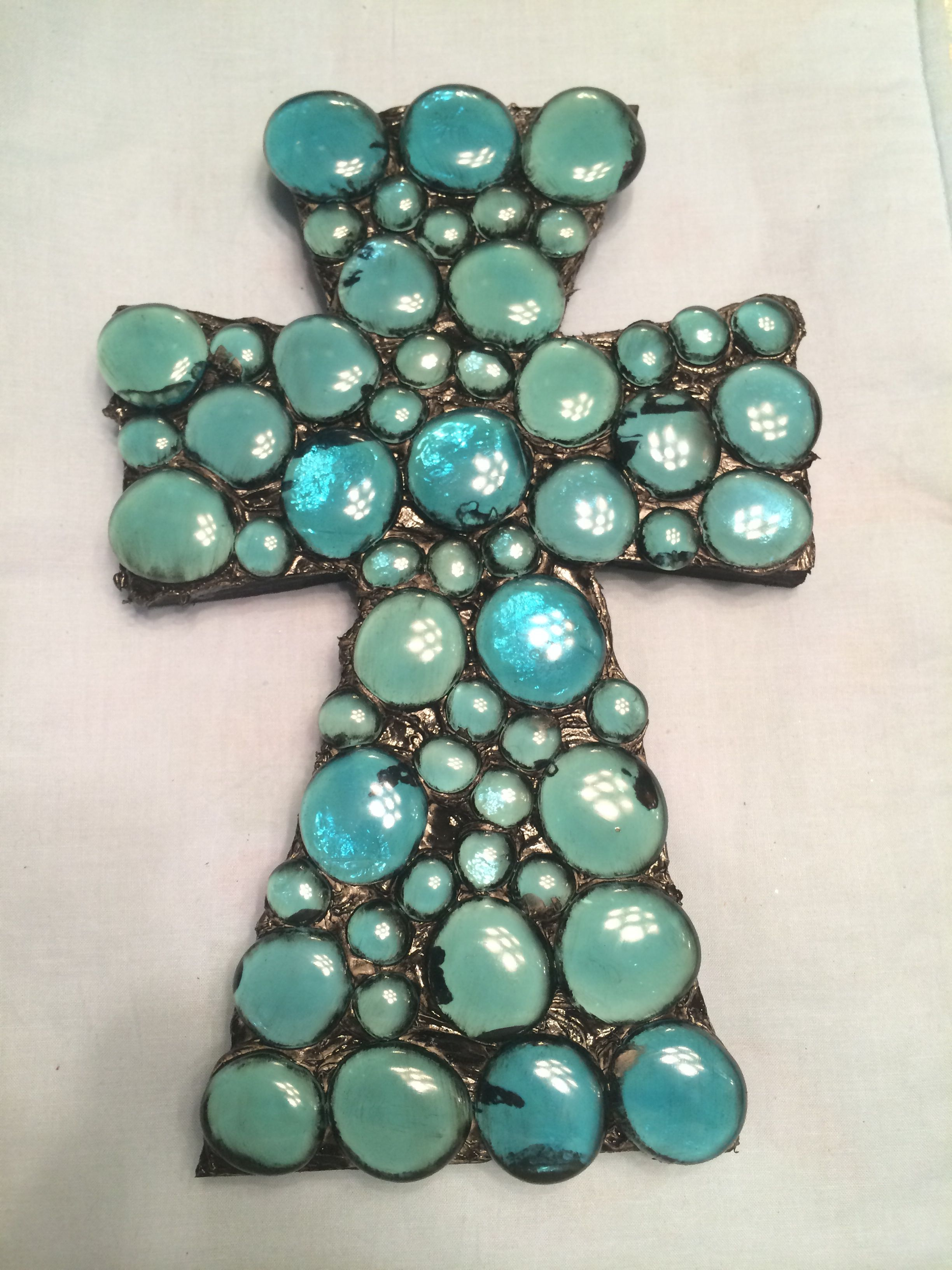 Wooden Cross With Blue Glass Stones #Crosses #Blue