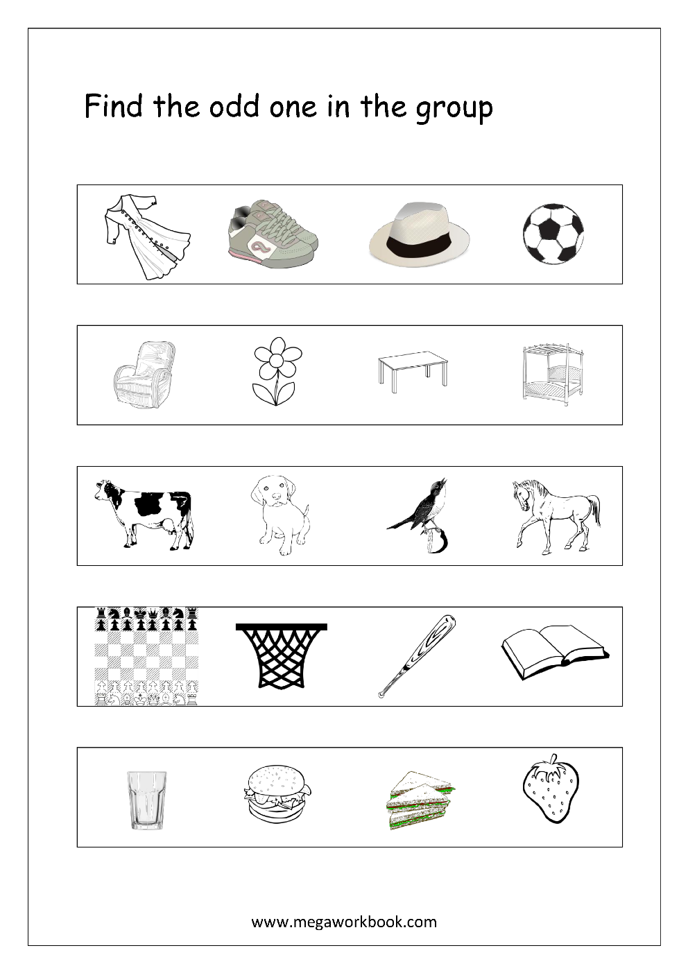 What goes together what doesn t belong fun worksheets and cut and - Free Printable General Aptitude Worksheets For Preschool And Kindergarten Find The Odd One In The Group