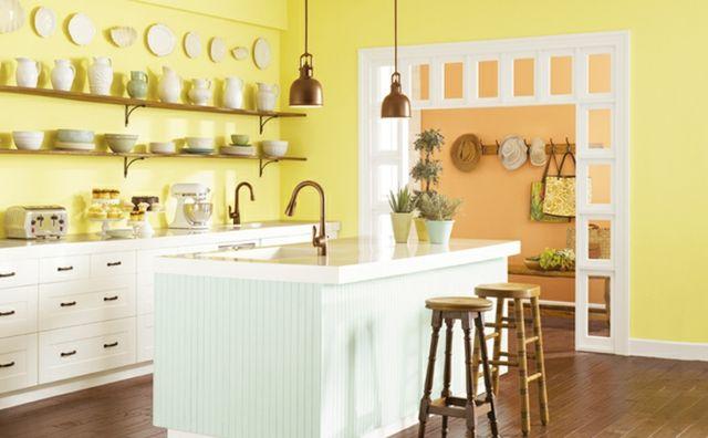 #Küche Die Küchenwand Streichen U2013 Farbideen In Fröhlichen Nuancen #Die  #Küchenwand #streichen