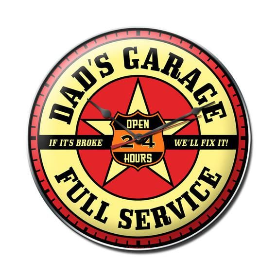 Retro Planet Classic Dad S Garage Metal Wall Clock 14 X 14 Inches Vintage Style Advertising Retro G Metal Wall Clock Neon Clock Retro Wall Clock