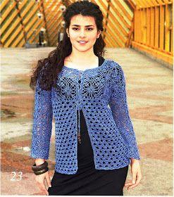 La Giacca Blu Di Pizzo Schema Top Fatti Alluncinetto Crochet