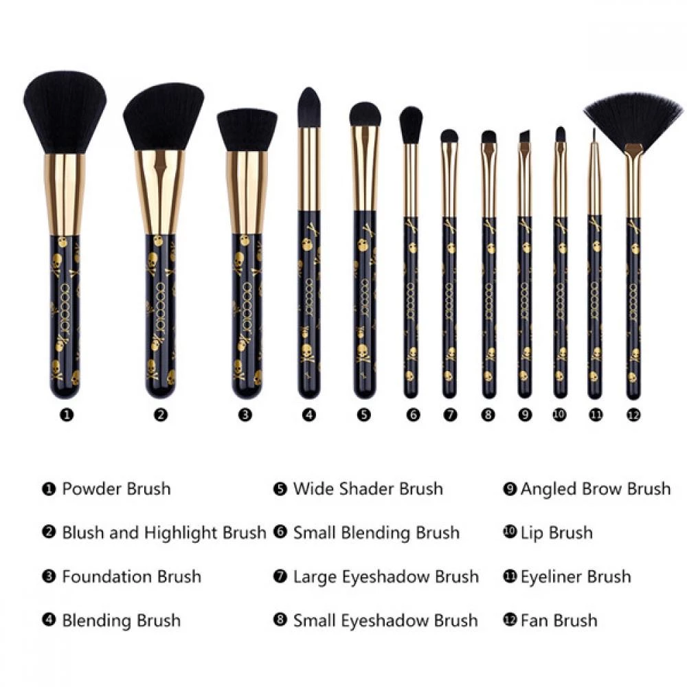 12 Pieces Goth Makeup Brush Set in 2020 Makeup brush