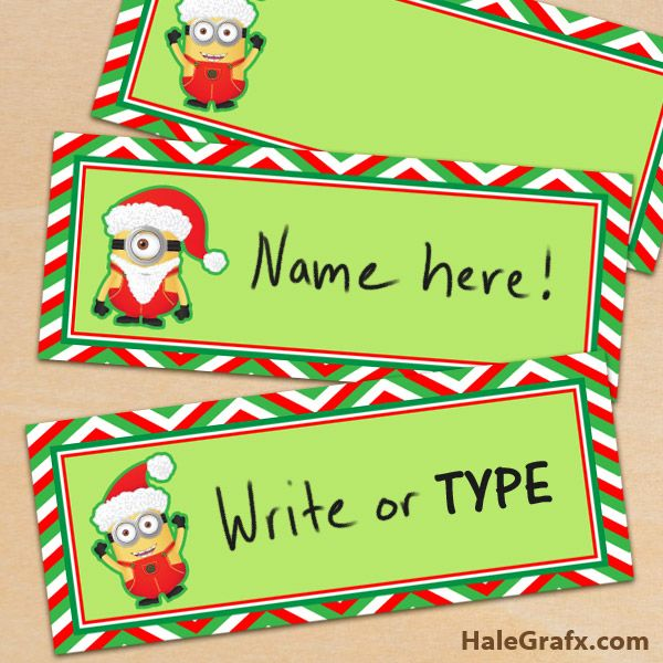 Xmas Minion Placecards Free Printable Despicable Me Minion Christmas Place Cards Minion Christmas Christmas Place Cards Free Printable Christmas Address Labels