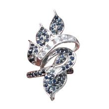 Qi Xuan_Fine Jewelry_Natural Sapphire Stone Luxury Leavies Rings_S925 Sterling Sliver Fashion Rings_Manufacturer Directly Sale
