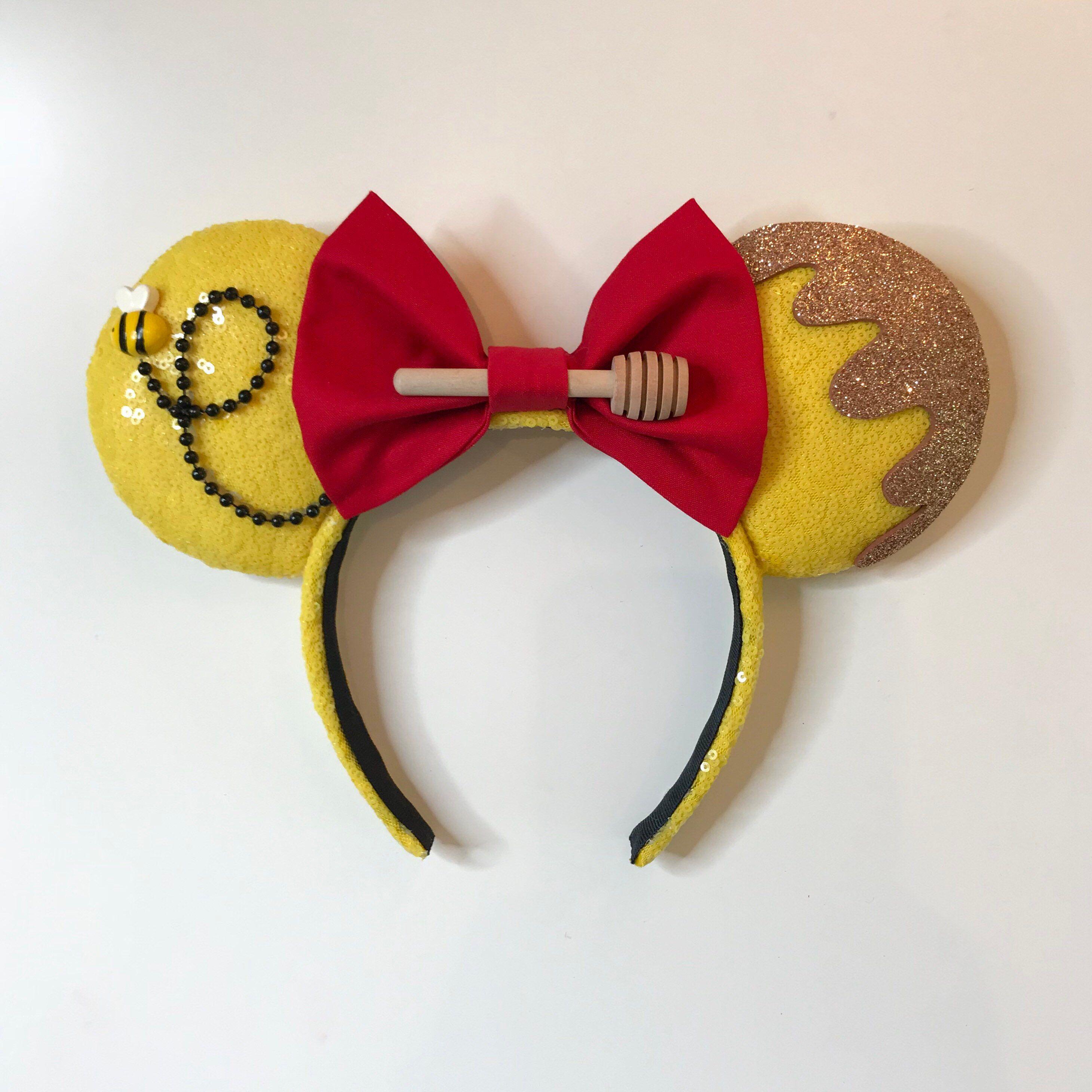 Cute Winnie The Pooh inspired Gold Sparkle Minnie Mouse Headband Ears