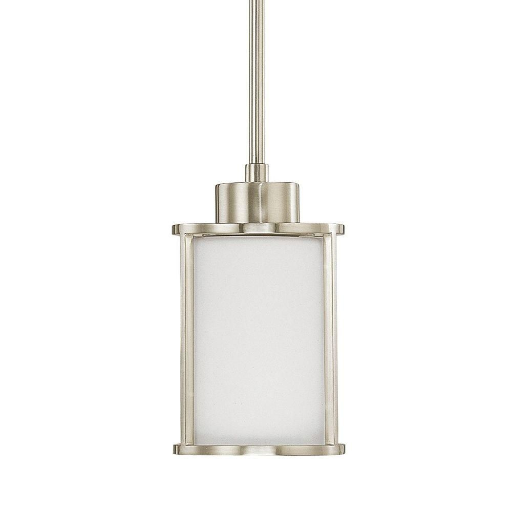 Home Decorators Collection 1 Light Brushed Nickel Mini Pendant With Satin  White Glass