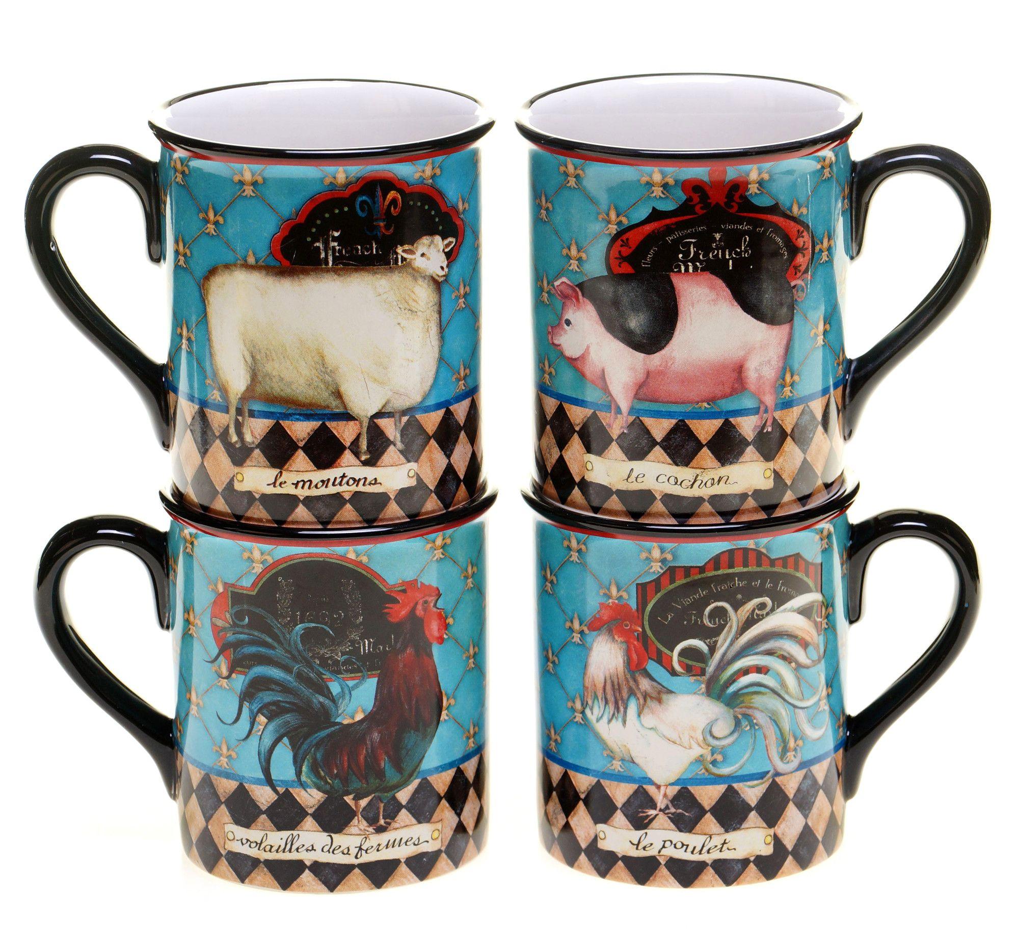 French Barnyard 4 Piece 16 oz. Mug Set Wayfair (With