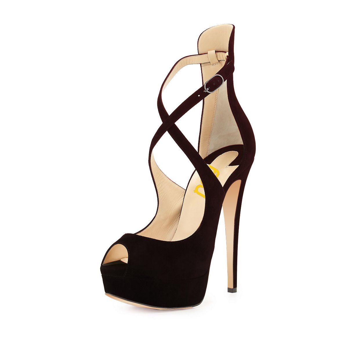 7e1dd34ad95 While Supplies Last Black Peep Toe Heels Suede Stilettos Cross-over Strap Platform  Sandals  elegantshoegirl  shoes  ankle  boots  flats  fashions  womens