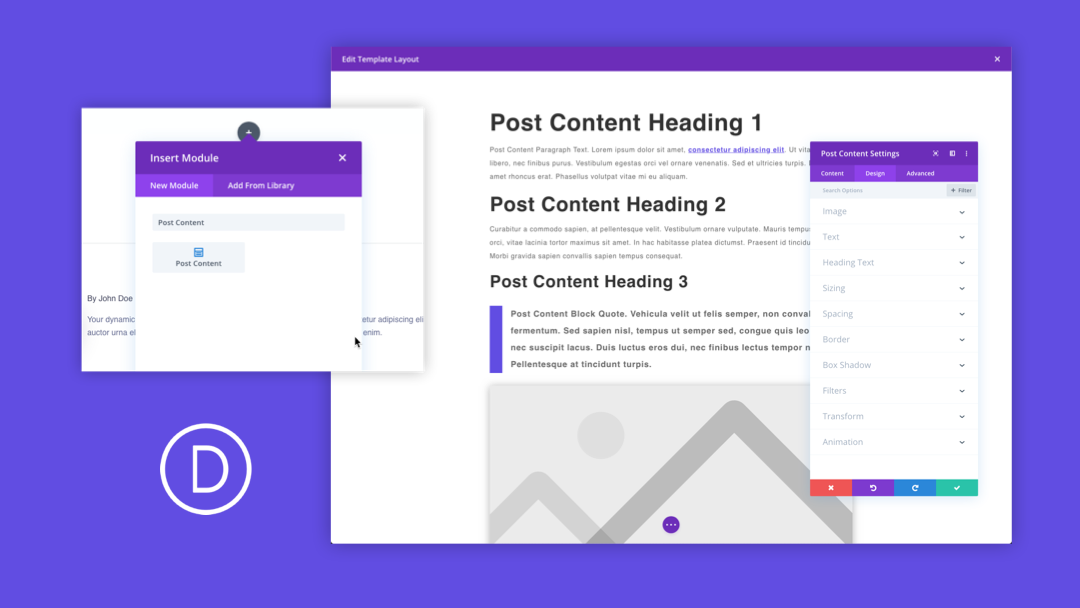 How To Use The Post Content Module In The Divi Theme Builder Divi Theme Blog Post Template Web Design
