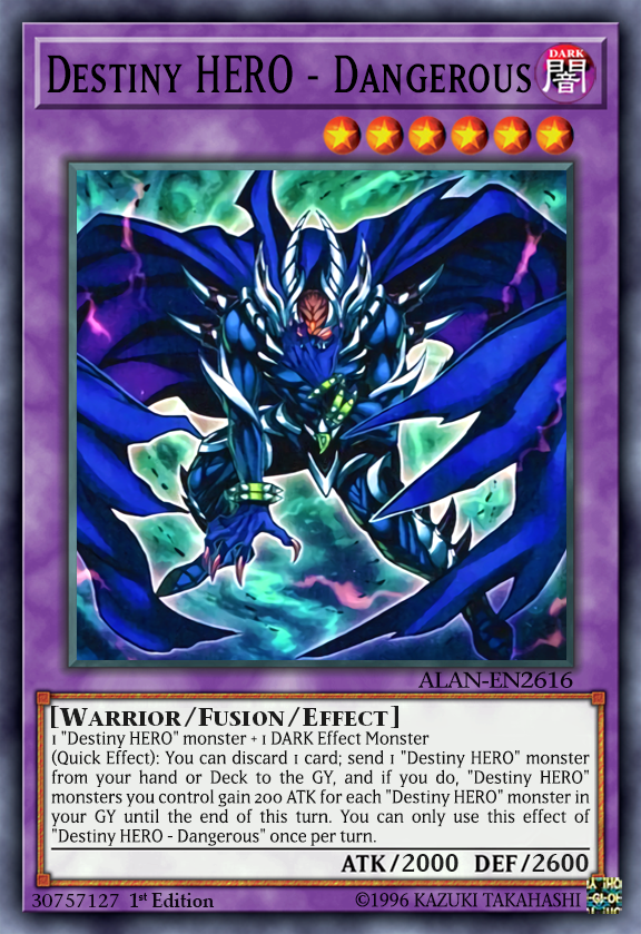 Destiny Hero Dangerous By Alanmac95 On Deviantart In 2020 Yugioh Yugioh Cards Destiny