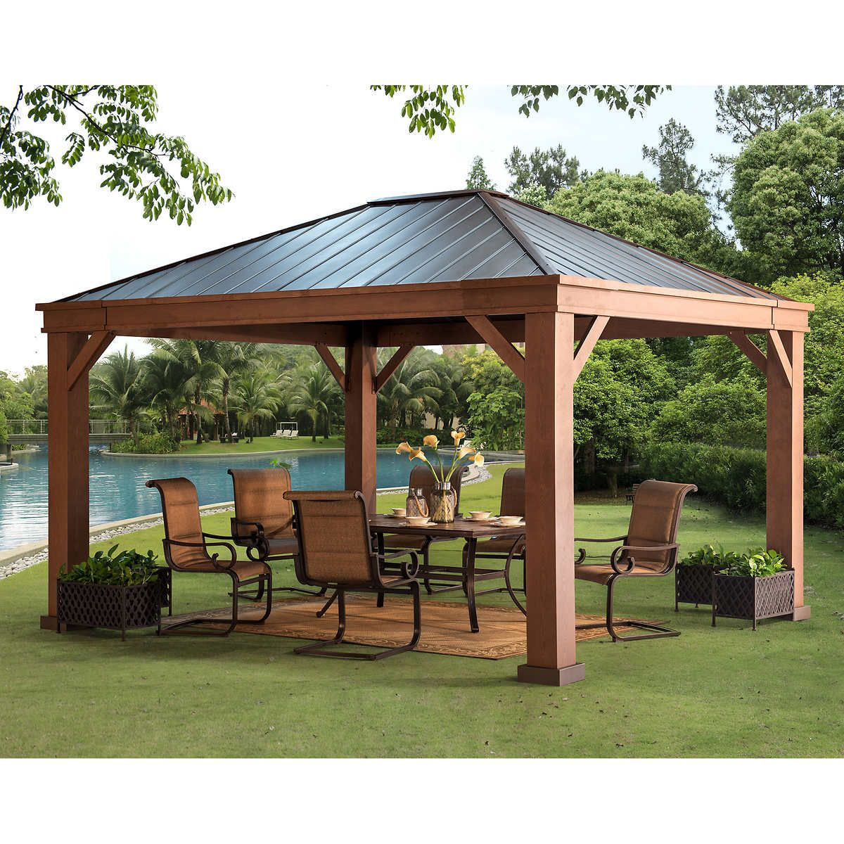 Pin By Zanetta Brown On Patio Backyard Pavilion Outdoor Pergola