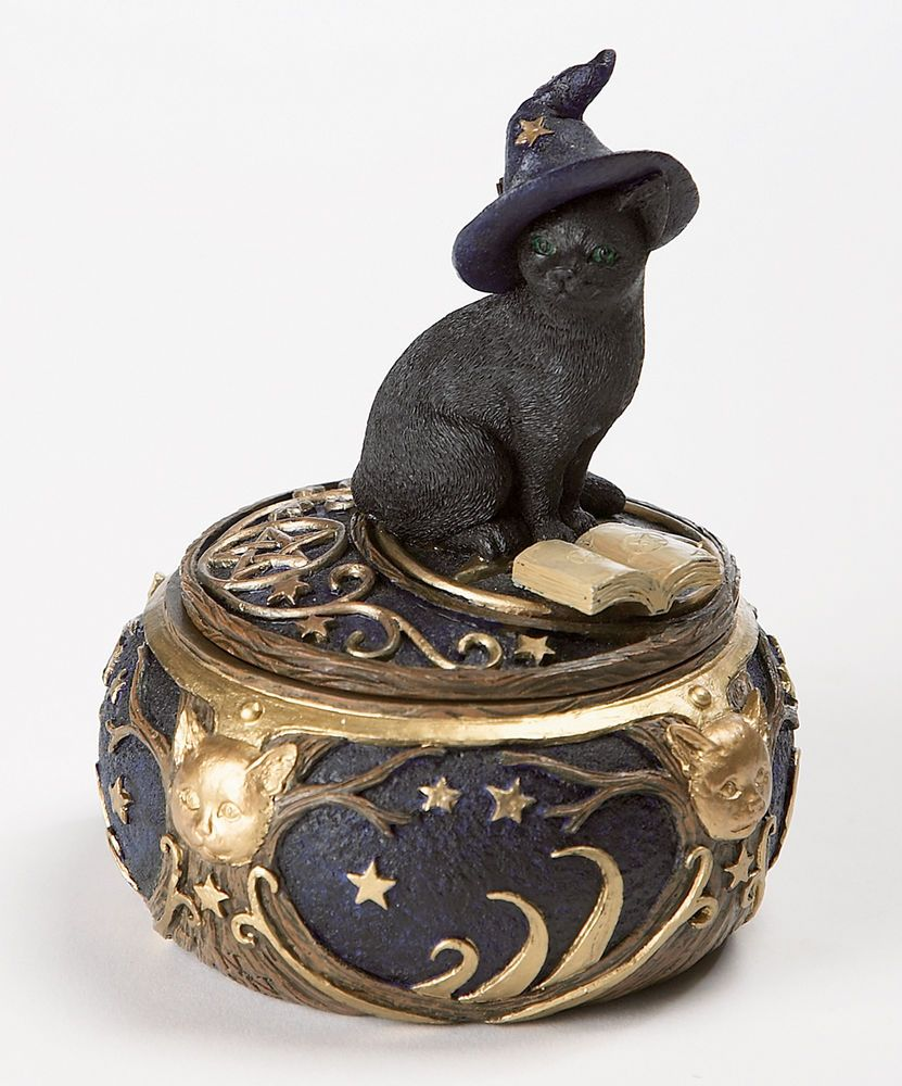 Magickal Cat Trinket Box Cold Cast Box Wiccan Pagan Metaphysical