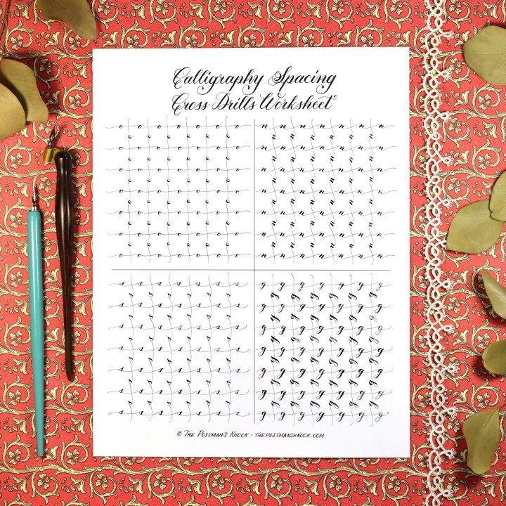 Calligraphy Spacing Cross Drills Worksheet   Calligraphy, Worksheets ...