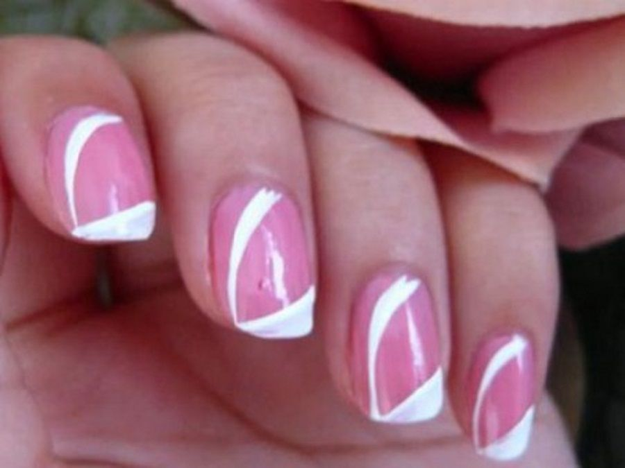 Cute Easy Nail Art with Pink and White Color Mixed | B E A U T Y ...