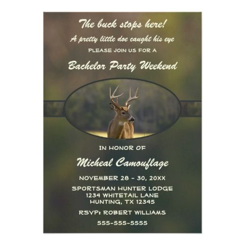 Funny Hunting Camo Green Bachelor Weekend Party Invitation