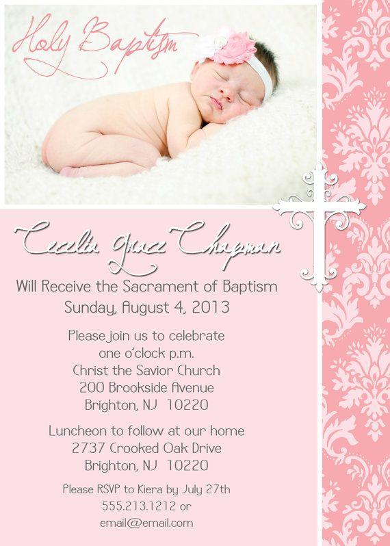 Girl Baptism Invitation DIY Printable Invite by LetterBeePaperie
