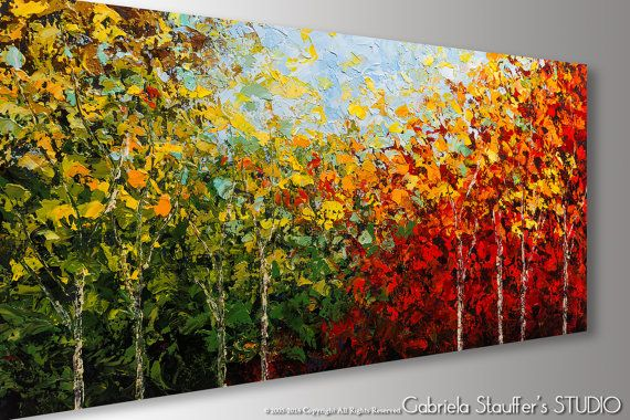 Birch Tree Painting Abstract Painting Abstract Art Tree by Catalin