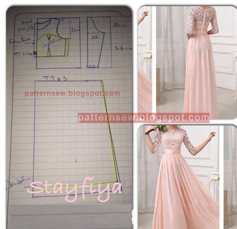 باترون مفصل لفستان سواريه بالدانتيل - Pattern Sewing | kaftan ...