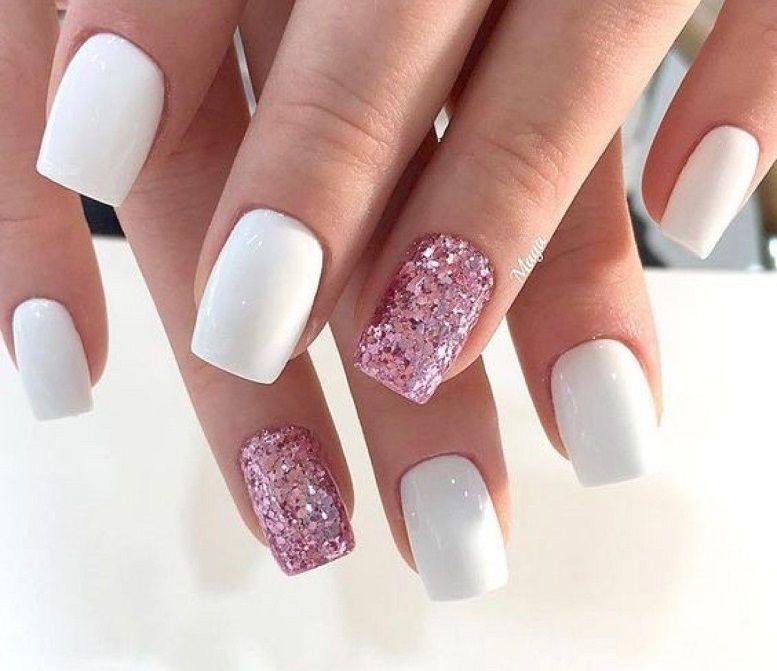 54 Beautiful Mismatched Nail Art Design White And Pink Glitter Nail Art White Nail Nails Nail Acrylic Pink Glitter Nails White Acrylic Nails Trendy Nails