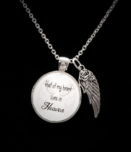 4ef2bef04 Half Of My Heart Lives In Heaven Guardian Angel Wing Quote Memory Necklace