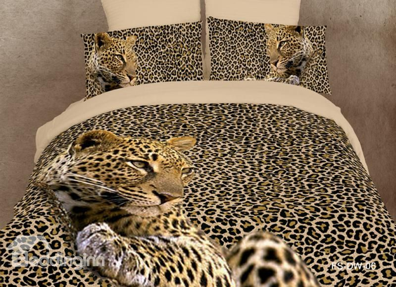 Amazing Leopard Print 4 Piece Bedding Sets Duvet Cover