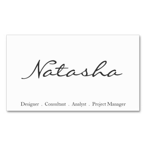 Elegant black and white script font business card business cards elegant black and white script font business card reheart Image collections
