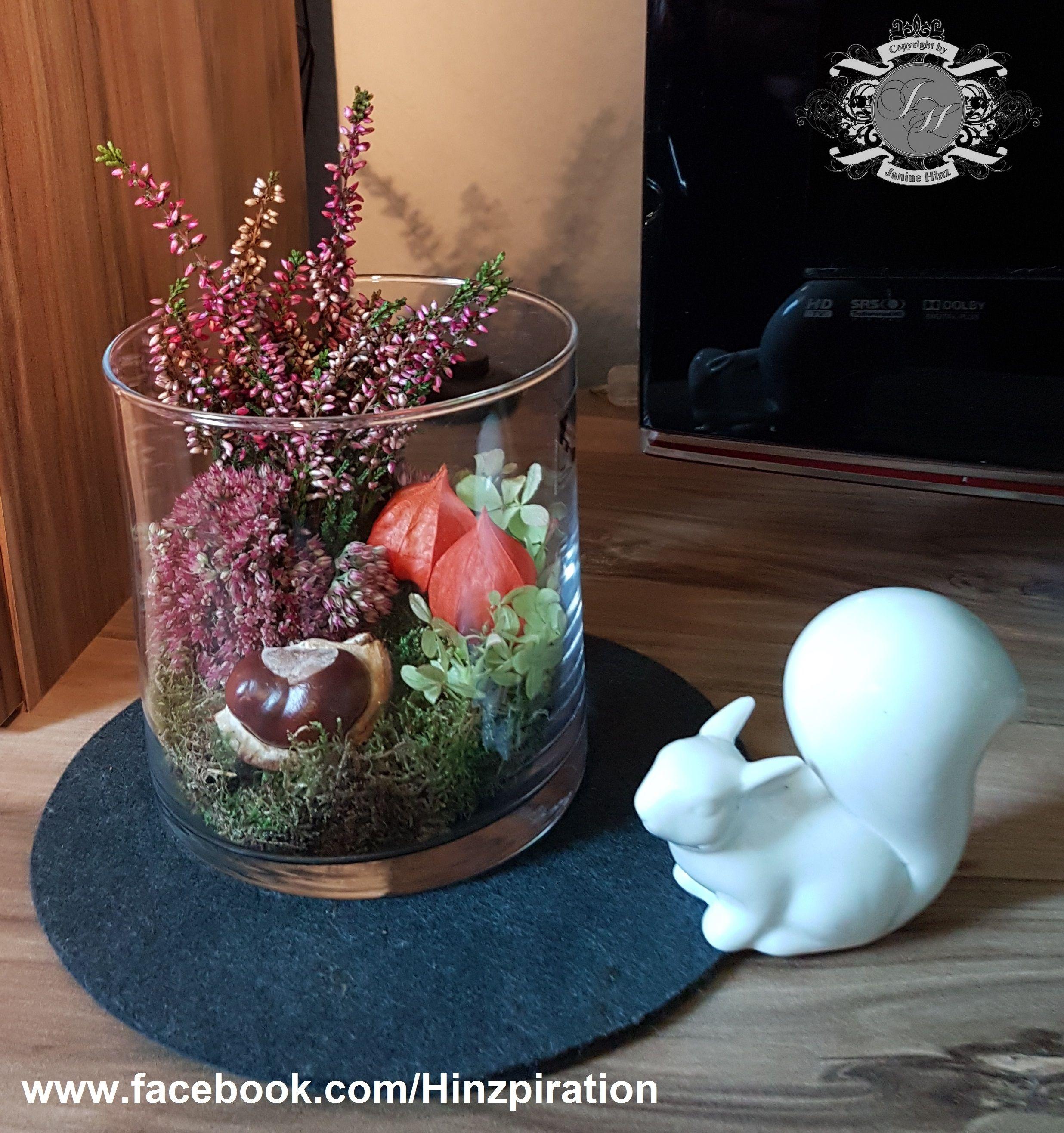 Herbstdeko mit erika fette henne moos kastanien physalis und hortensien herbst herbst - Herbstdeko mit erika ...