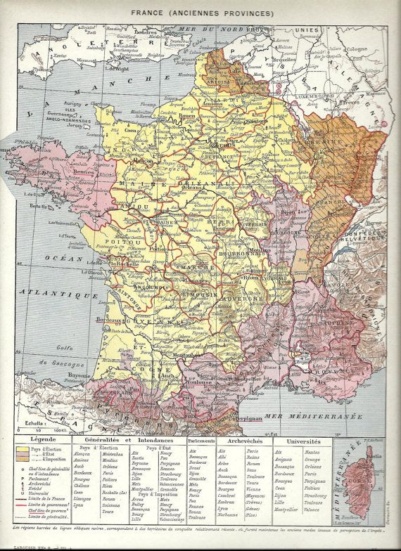Map Of France Poster.Vintage Map Of France Poster Old Provinces French Dictionary Page