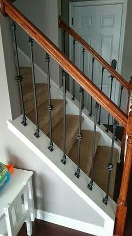 House Of Overstreet: DIY: Staircase Makeover   Wrought Iron Spindles I Like  The Wood Handle