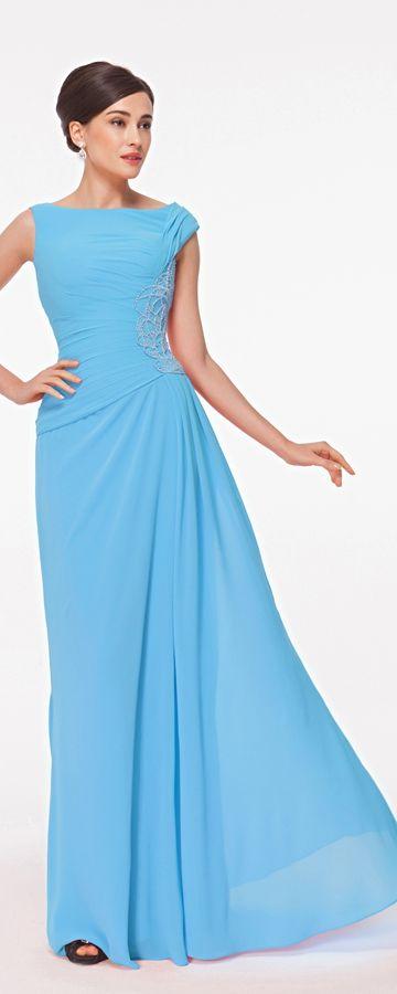 Modest Blue Long Formal Dresses Plus Size | Blaues abendkleid ...
