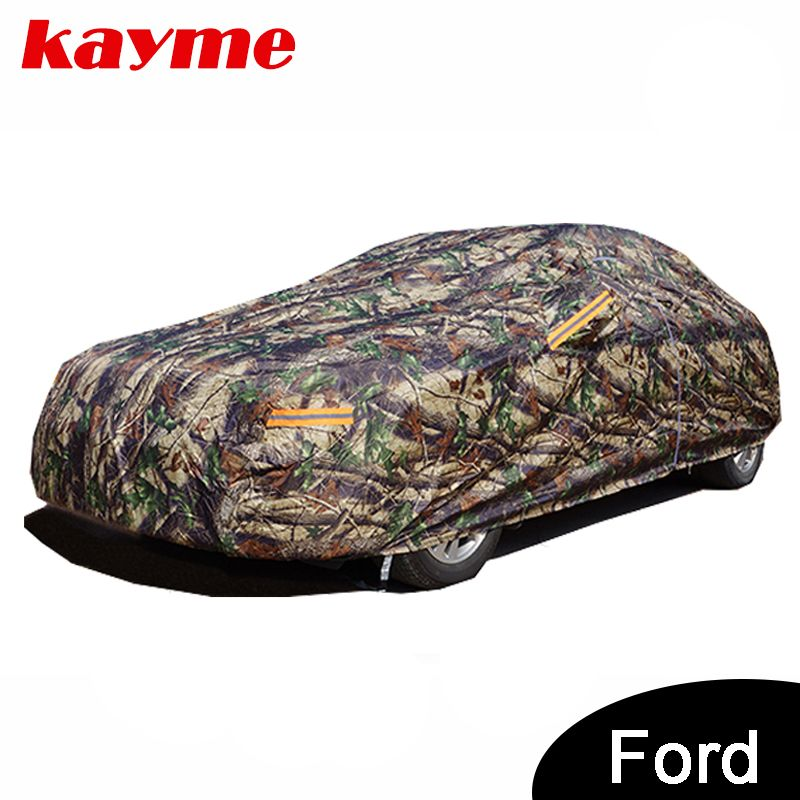 Kayme Camouflage Waterproof Car Covers Outdoor Cotton For Ford Mondeo Focus 2 3 Fiesta Kuga Ecosport E Waterproof Car Exterior Accessories Car Covers