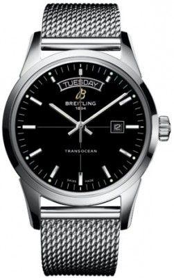 BREITLING Transocean Day   Date Type mens watch Case Steel Dial black Strap  Steel Clasp Folding f9e1b5ad0ea