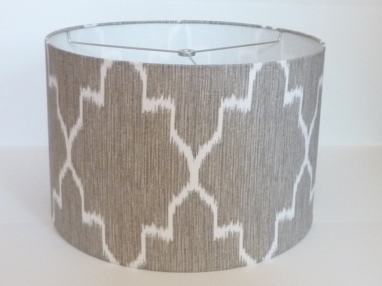 Medium Drum Lamp Shade In Ikat Geometric Grey And White Linen Fabric 85 00 Via Etsy Drum Lampshade Small Lamp Shades Lamp Shade Crafts