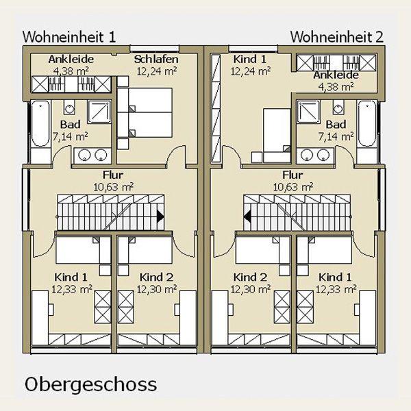 Doppelhaus Grundriss Obergeschoss (mit Bildern) Haus