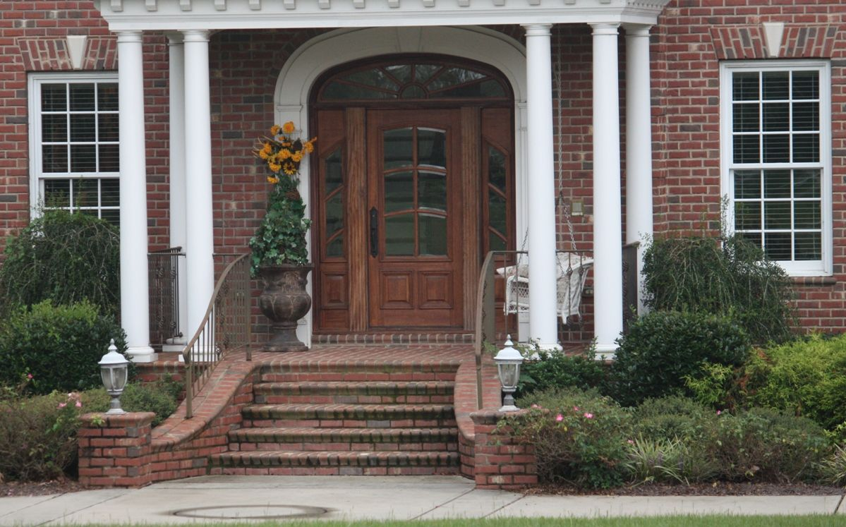 Architecture Amazing Brick Front Porch Steps Ideas For Traditional House Design Front Door