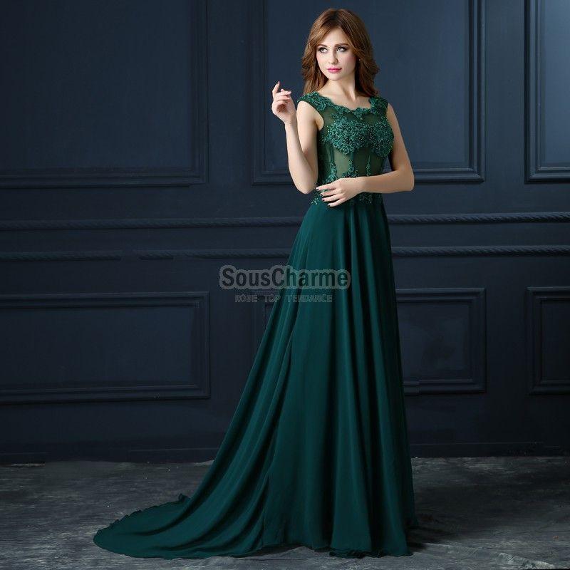 9eb5eb3cb6c Robe de soirée longue verte pas cher en mousseline décolleté rond corset  transparent à broderie avec ...