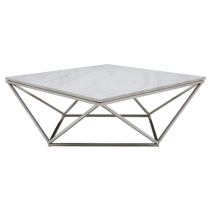 Nuevo Jasmine Square White Marble Top Coffee Table   HGTB174