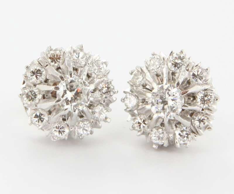 Vintage 14 Karat White Gold Diamond Cer Earrings Fine Estate Jewelry Used