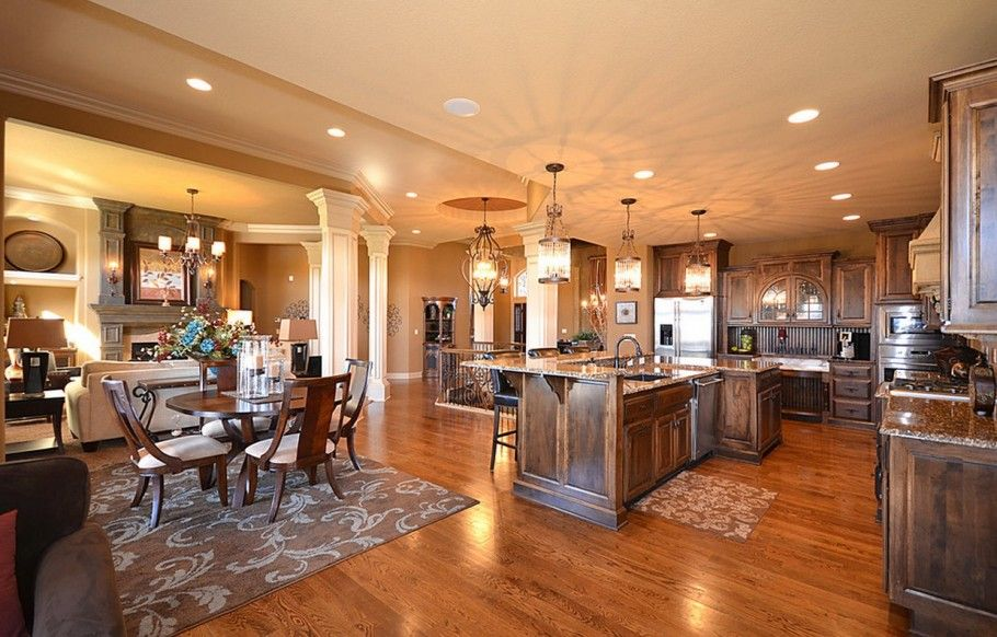 pictures of open floor plans including living room, kitchen and