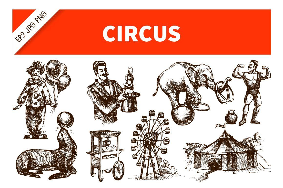 Hand Drawn Sketch Vintage Circus Set by Elena Pimonova on Creative Market
