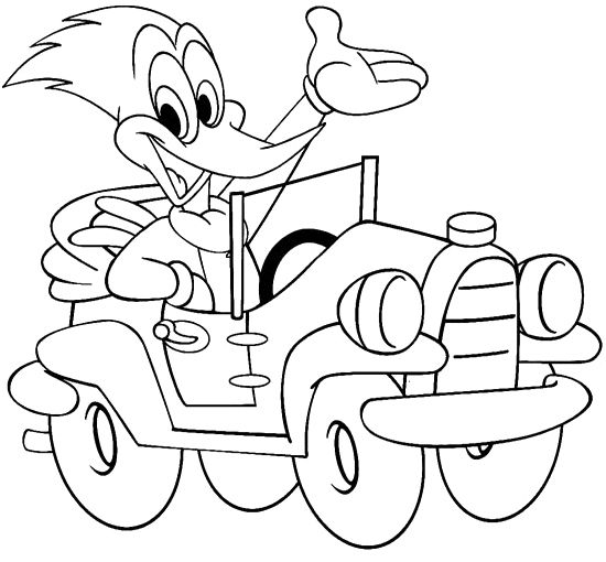 Woody Woodpecker In a Car Coloring Page - Cartoon Car car coloring ...