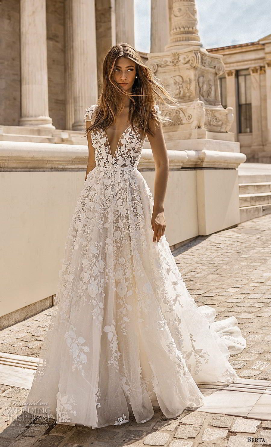 berta fall 2019 bridal cap sleeves deep v neck full embellishment romantic a lin... 7