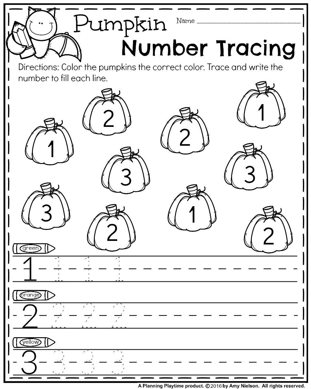 October Preschool Worksheets   Number tracing, Worksheets and Number