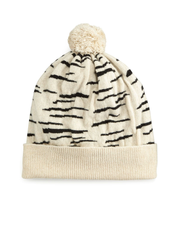 Cashmere Tiger-Stripe Beanie Hat 708ee0bf1ce3